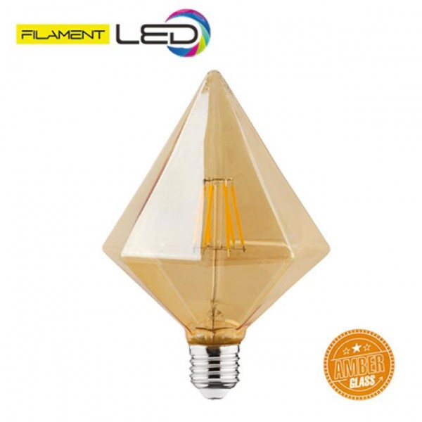 6W LED-Leuchtmittel Filament Pyramide Rustika E27 warmweiss 2200K