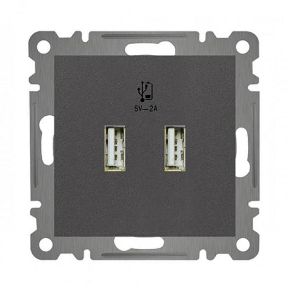 KOMBI DOPPEL USB STECKDOSE NETZTEIL LADEGERÄT ( Einsatz + Deckel ) LUNIS ANTHRAZIT