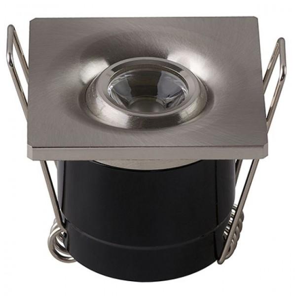 LED Mini Einbaustrahler Minispot schwenkbar eckig 1W matt-chrom neutralweiss 4200K