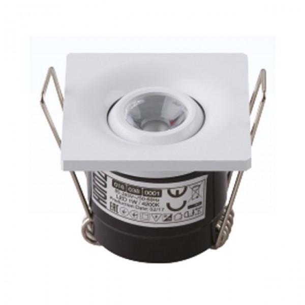 LED Mini Einbaustrahler Minispot schwenkbar eckig 1W weiss neutralweiss 4200K
