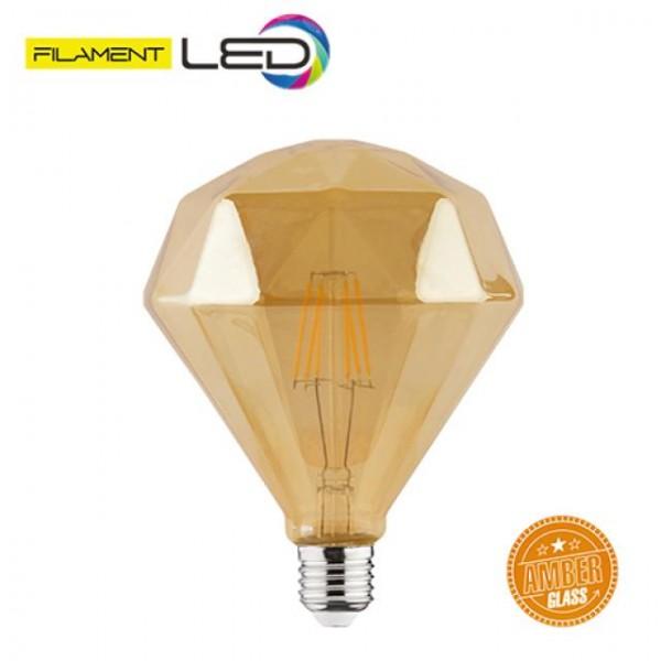 6W LED-Leuchtmittel Filament Diamand Rustika E27 warmweiss 2200K