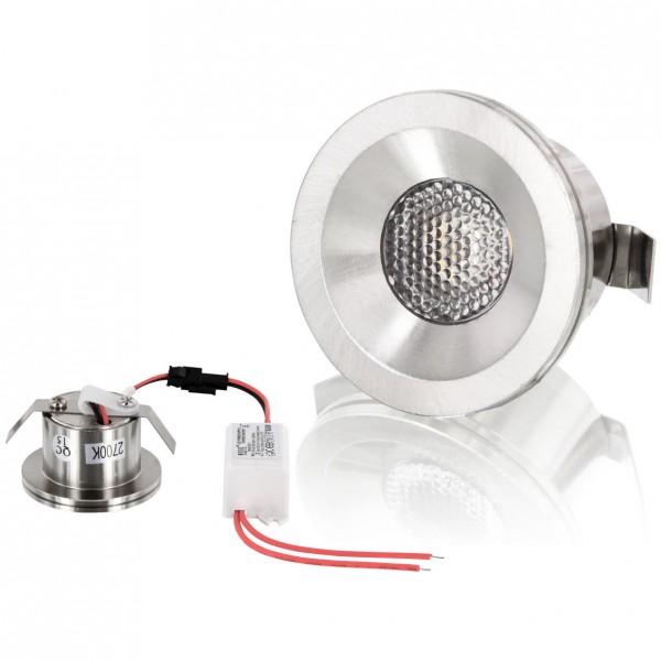 LED Mini Einbaustrahler Minispot starr 3W matt-chrom neutralweiss 4200K