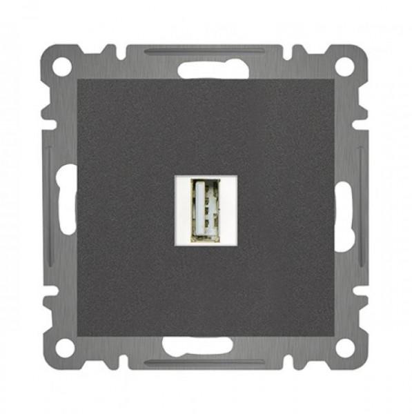 USB DURCHGANG AUSGANGSDOSE ( Einsatz + Deckel ) LUNIS ANTHRAZIT