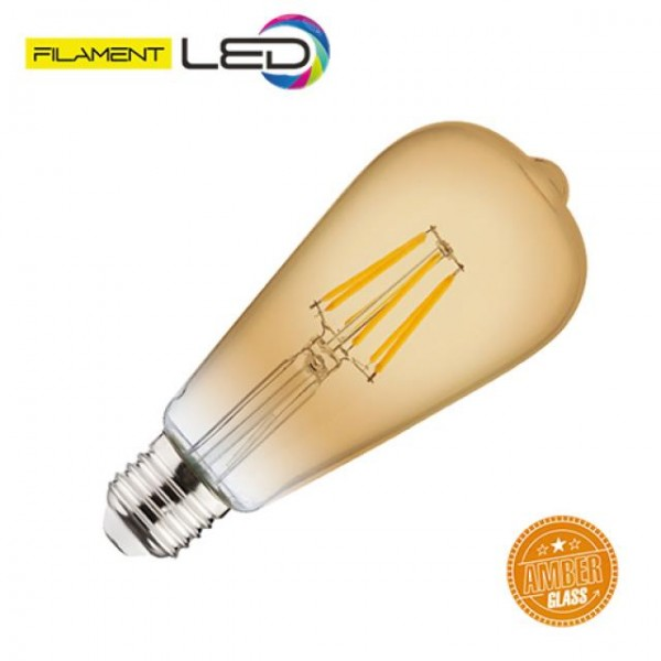 6W LED-Leuchtmittel Filament Edison Rustika E27 warmweiss 2200K