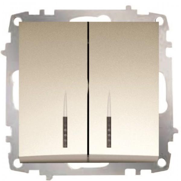 SERIENSCHALTER MIT LED (EINSATZ + WIPPE) ZENA TITANIUM