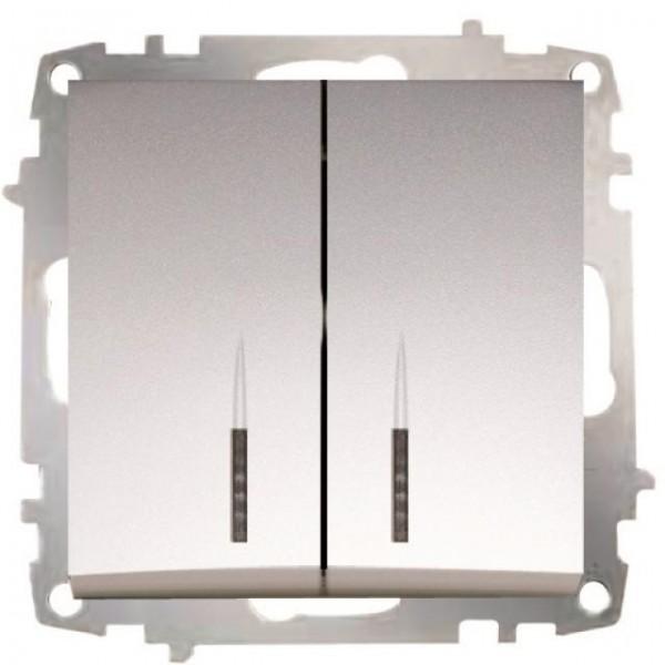 SERIENSCHALTER MIT LED (EINSATZ + WIPPE) ZENA MET. SILBER